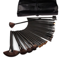 32 Pcs Black Rod Makeup Brush Cosmetic Blending Contouring Application Set Kit with Case