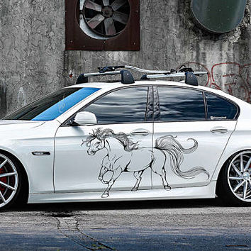 horse car hood decal horse Car Decals horse Car Truck horse Side Body Graphics Decal horse Sticker for car kikcar63