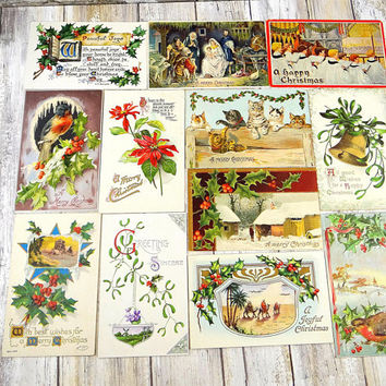 Antique Victorian Christmas Postcards from 1900s, Lot of 12