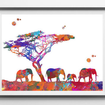 Printable Africa's savannah  savanna digital Print african elephants family Instant Download animals art digital poster archival quality