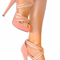 LADIES CORAL GOLD STRAPPY STILETTO HEELS PLATFORM SHOE SANDAL EVENING PROM 3-8