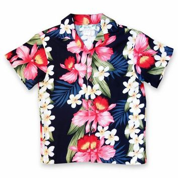 Orchid Play Blue Hawaiian Boy Shirt
