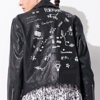 FRS Black Leather Graphic Jacket