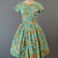 60s Turquoise, Yellow & Orange Floral Dress, 34 bust, Vintage cotton 1960s dress, full skirt, Kay Windsor