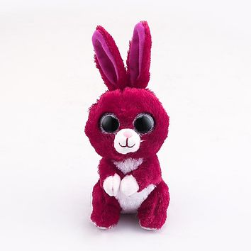 Ty Beanie Boos Big Eyes Red Rabbit Plush Toy Doll 10 - 15cm TY Baby For Kids Birthday Gift