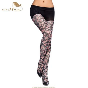Women Tights 2017 Pretty Spring Autumn collant opaque High Quality Floral Print Pantyhose Flower Pattern Black Navy Blue VH0001