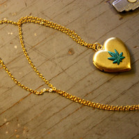 WEED Lover Heart Locket on gold plated chain