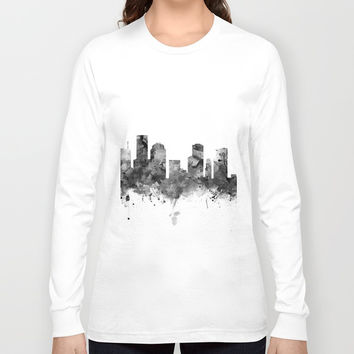 Houston Skyline Black and White Long Sleeve T-shirt by monnprint