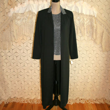 Vintage 80s Silver Metallic Top with Matching Duster Jacket Black Duster Coat Holiday Clothing Evening Cocktail Party Small Womens Clothing