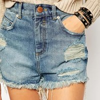ASOS PETITE Side Split Short In Clapton Mid Wash
