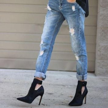 Pointed Toe Hollow Out Stiletto High Heel Ankle Boots