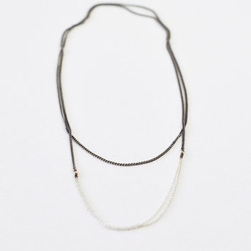 Silver lining - long gunmetal & sterling chain necklace - minimal modern jewelry  gift for her