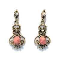 Victorian Style Scroll Earrings, With Marbled Peach Cabochon And Faux Pearls, Set Antique Gold Tone