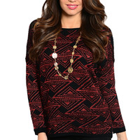 Long Sleeve Geometric Print Knit Sweater