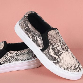 Qupid Snake Embossed Round Toe Slip-On Sneaker