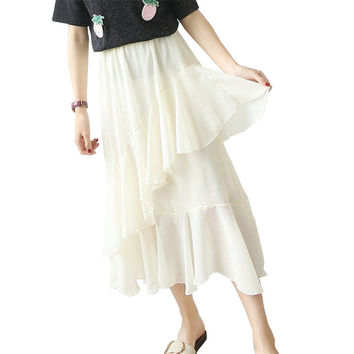 Chiffon Layers of Lotus Leaf Net Yarn Cake Sweet Skirt Women Dressing Skirt Ladies Black Elegant Casual Waist Pleated Skirt