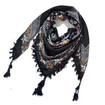 [FAITHINK] Women Square Tassel Scarf Shawl Brand Geometric Printed Bandana Poncho Geometric Winter Spring Warm Wrap Scarves