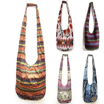 Baellerry Women Unique Ethnic Shoulder Bag Hippie Gypsy Tribal Bags Hipster Handmade Travel Bags Crossbody Cotton Thai Handbags