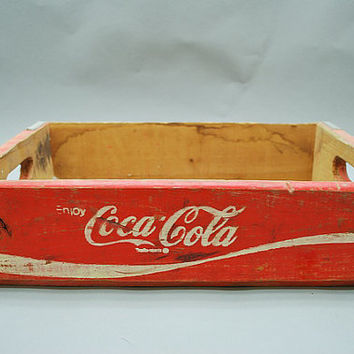Coca-Cola Wooden Crate -- Wood Display Crate -- Red and White -- Antique, Rustic, Primitive Decoration -- Kitchen Farmhouse Decor