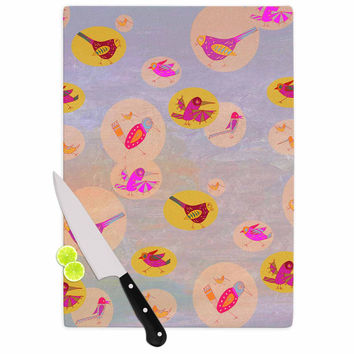 """Marianna Tankelevich """"Birds Paradise"""" Pink Abstract Cutting Board"""