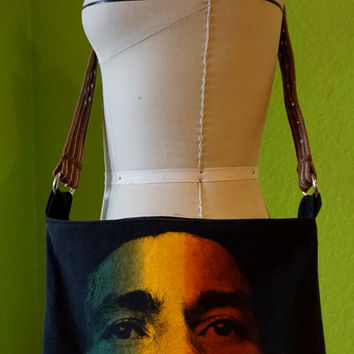 Bob Marley Bag Upcycled T-Shirt Crossbody Handbag