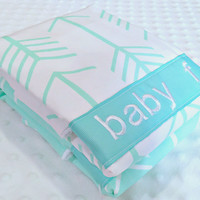Personalized Burp Cloth Set - Set of 2 Personalized Baby Burp Cloths Gender Neutral Aqua Mint Green White Arrows