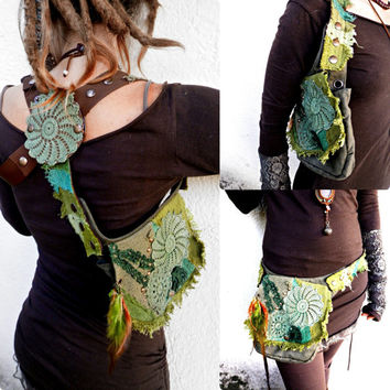 PIXIE VEGAN BAG - woodland fairy green textures 3 in 1 versatile utility belt - use it as pocket belt, holster or shoulder bag - Custom made