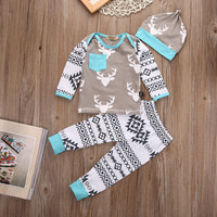 3pcs/set Newborn Kids Baby Girl Boy Deer Outfit Set Infant baby Long Sleeve reindeer Tops+Pants+Hat Xmas Outfits Set Clothing