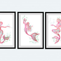Mermaid print Mermaid set of 3 posters Home decoration Set of 3 mermaids wall decor Ocean fantasy watercolor Kids room decor Gift idea S21