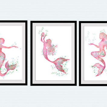 Mermaid Print Mermaid Set Of 3 Posters Home Decoration Set Of 3 Mermaids Wall Decor Ocean