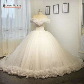 100% Real photos white Cinderella wedding dress fluffy princess wedding ball gown