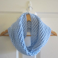Pale Blue Scarf - Knit Infinity Scarf - Winter Scarf - Circle Scarf - Knitted Tube Scarf - Hand Knit Scarf - Eternity Scarf - Loop Scarf