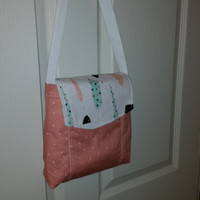 Small Messenger Bag - made by me with feather and blush fabric - crossover purse