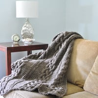 Chunky Cable Knit Blanket in Natural Gray Hand Knitted Wool