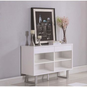 Contemporary Wooden Sofa Table With Metallic Base, Glossy White - 705699