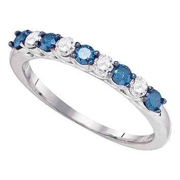 10kt White Gold Women's Round Blue Color Enhanced Diamond Wedding Band Ring 1/2 Cttw - FREE Shipping (US/CAN)
