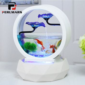 110/220V Creative Boutique Diamond Model Glass Fish Tank Petal Water Fountain Humidifier Lucky Feng Shui Home Decor Wedding Gift