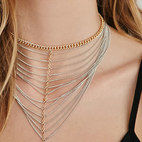 Draped Cone-Charm Multi-Chain Choker