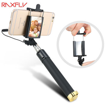 RAXFLY Wired Handheld Universal Selfie Stick Monopod Extendable Self-timer Portable With Mirror For iPhone Samsung Xiaomi Huawei