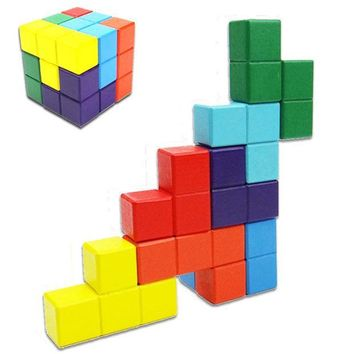 ICIK272 Novelty Toys Tetris Magic Cube Multi-color 3D Wooden Soma Puzzle Educational Brain Teaser IQ Mind Game For Children Adult