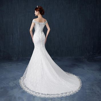Mermaid court train White Lace Princess Bead Wedding Frocks Bridal Ball Gowns Wedding