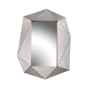 Hedron Industrial Style Wall Mirror German Silver
