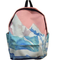 Women Canvas Backpack Fashion Rucksack School Shoulder Bag Landscape Harajuku Backpacks Embroidery Sea/Snow Mountain/ Aircraft