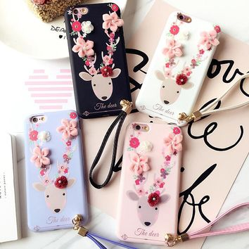 New Korea 3D Flowers Deer Phone Case for iPhone 8 7 7plus 6 6s plus Lace Silicone TPU Back Case Funda with Lanyard