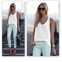 Sexy Sleeveless Women Summer Chiffon Blouse Casual Solid Color Shirt Tops Slouchy Blusas