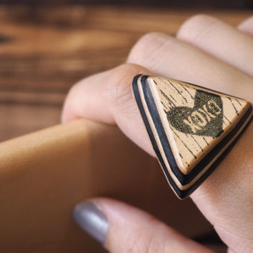 XOXO Leather Ring - Hugs and Kisses Ring, Handmade Triangle Hand Stamped,  Adjustable, Acronym, Custom initial, texting abbreviation #Black