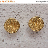 SALE 10% OFF gold circle earrings disc stud 24k gold plated gold plated sterling silver post earrings small studs