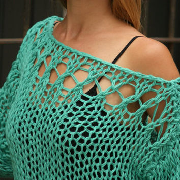 Hnossa - Emerald Lace Knit Sweater  New Fall Collection by Eva Bella Made To Order