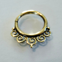 Brass Septum For Pierced Nose - Nose jewelry - Septum Jewelry - Indian Nose Ring - Ethnic Septum - Septum Piercing (Code: B23)