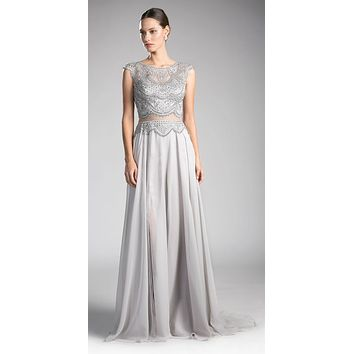 Silver Illusion Beaded Formal Gown Cap Sleeves with Slit